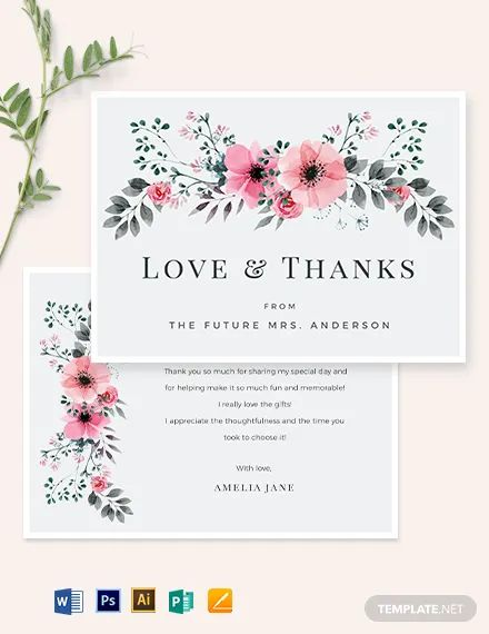 thank you card template for word