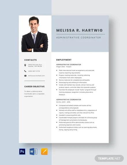 Administrative Coordinator Resume Template Download 2042+ Resume