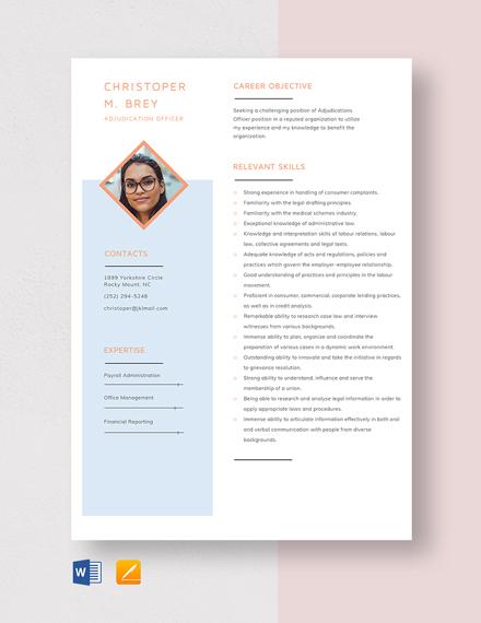 Adjudicating Officer Resume Template Download in Microsoft Word
