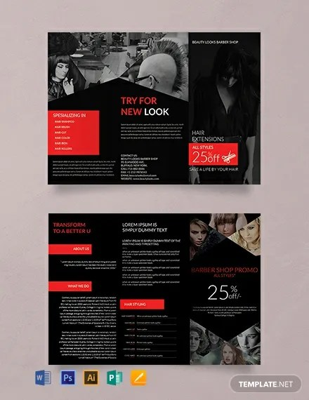 FREE Barbershop A3 Tri-Fold Brochure Template Download 457+