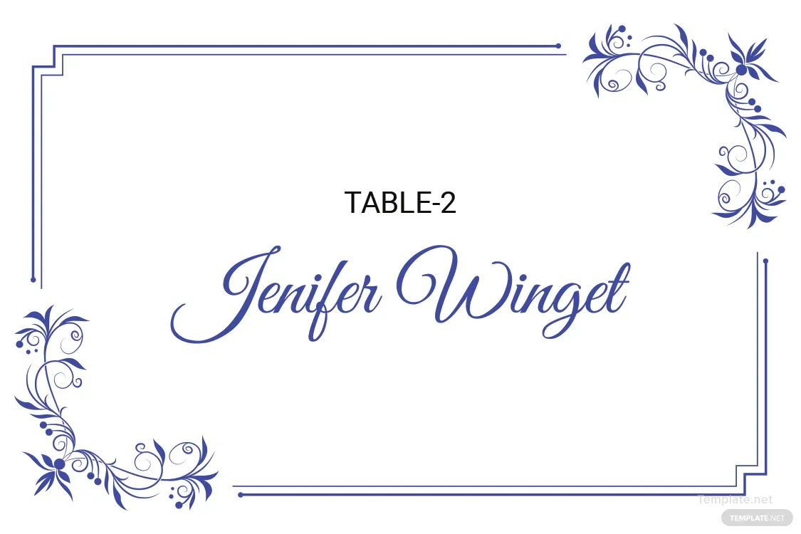 wedding place card template word