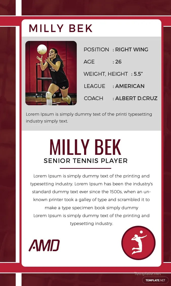 Free Volley Ball Trading Card Template in Adobe Photoshop - trading card template