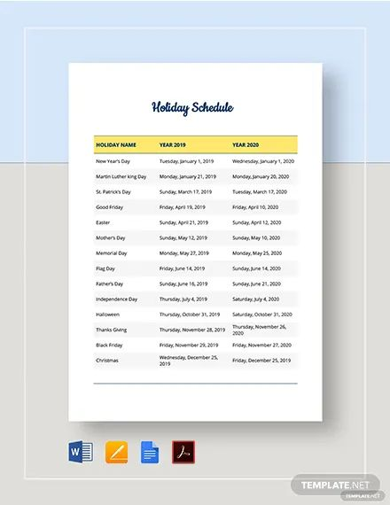 management schedule template