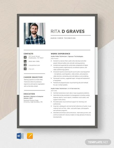 audio visual technician resume