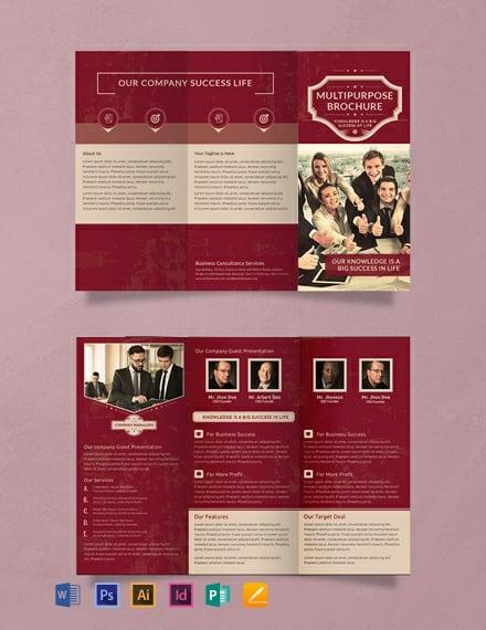 FREE Retro Multipurpose Trifold Brochure Template Download 457+