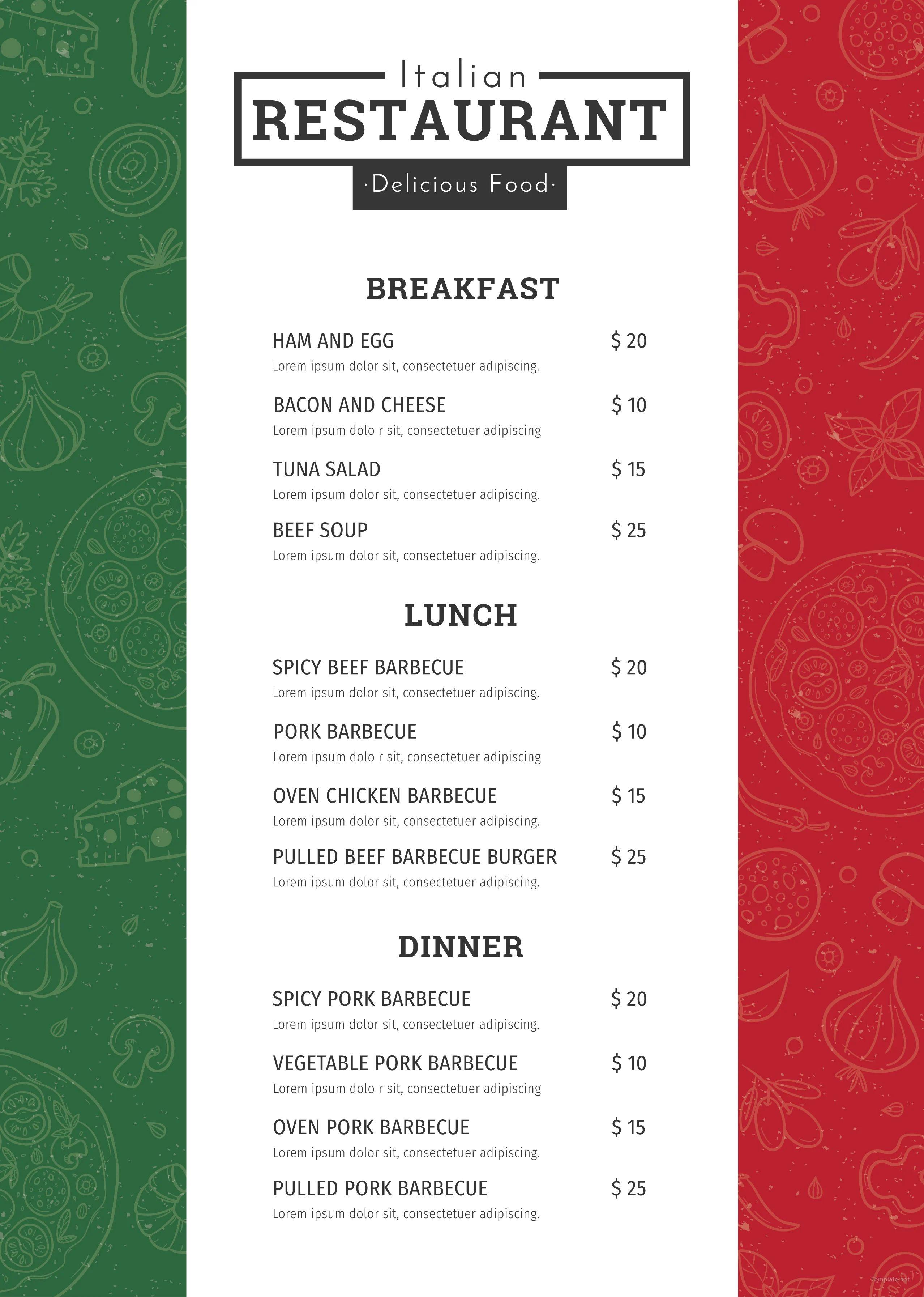 template for restaurant menu