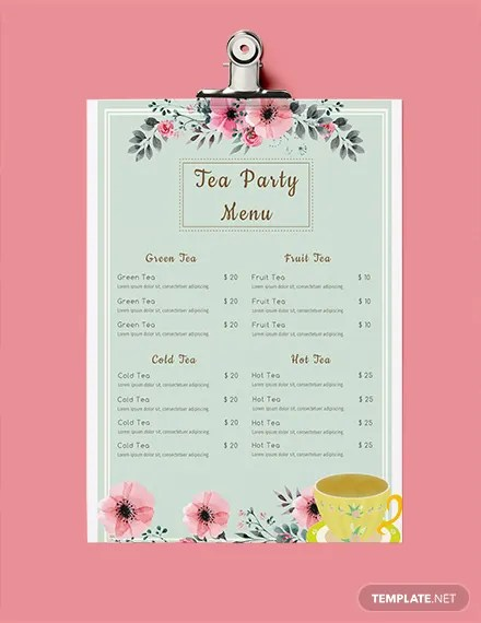 FREE Tea Party Menu Template Download 36+ Menus in PSD, Word
