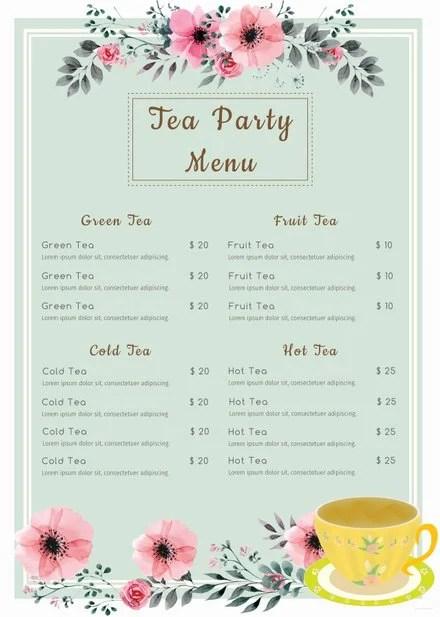 Free Tea Party Menu Template Free Templates - party menu template