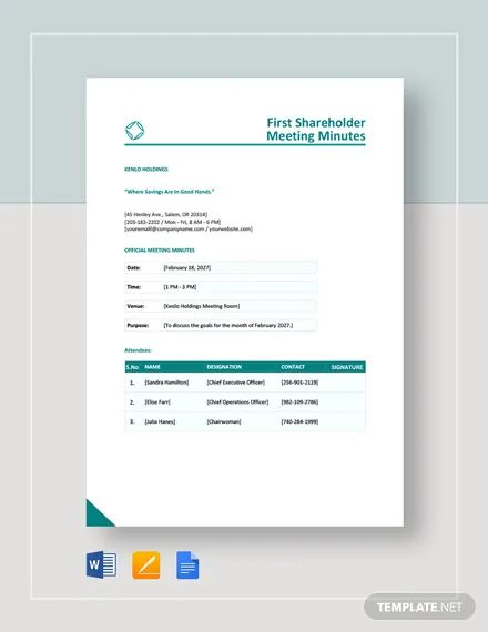 shareholder minutes template