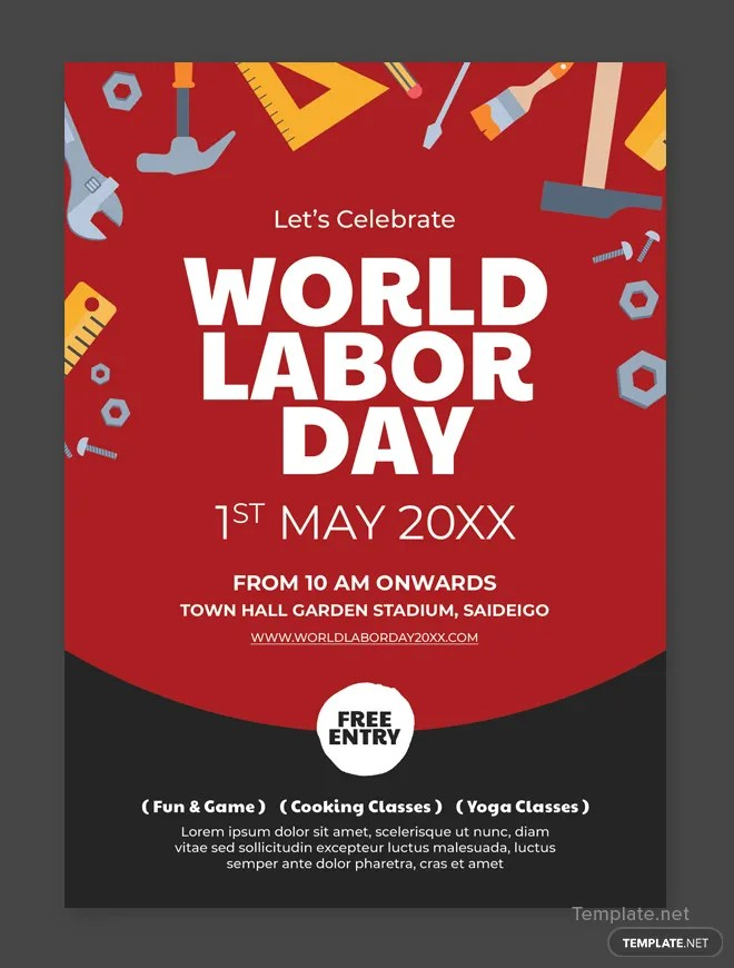 Free Labor Day Flyer Template in Adobe Photoshop Templatenet - labour day flyer template