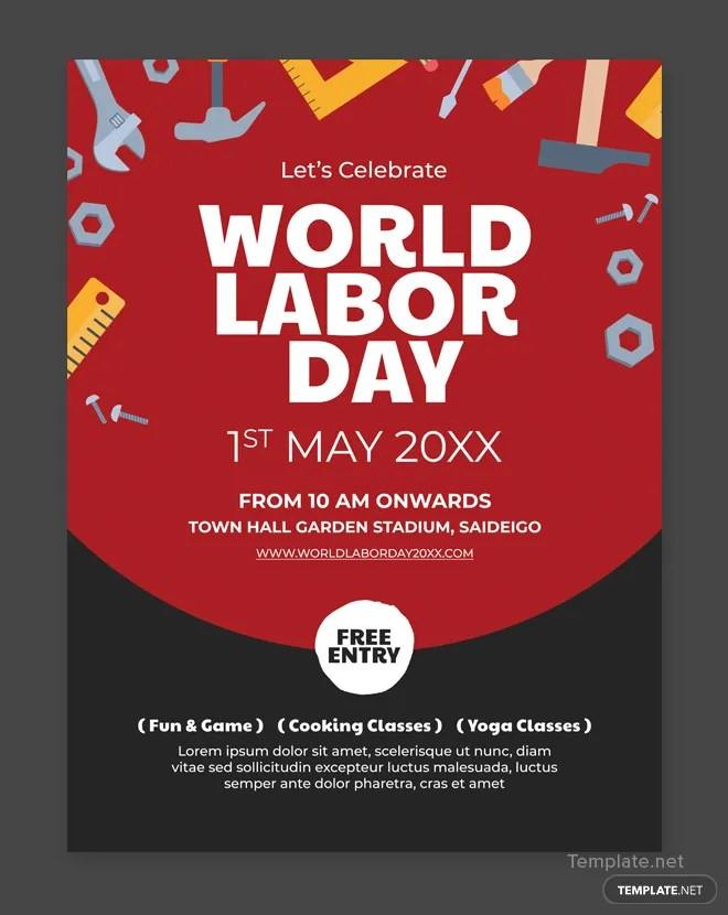 Free Labor Day Poster Template in Adobe Photoshop Templatenet - editable poster templates
