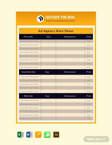FREE Ad Agency Rate Sheet Template Download 530+ Sheets in Word
