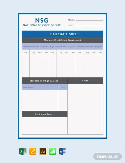 7+ FREE Rate Sheet Templates Download Ready-Made Templatenet