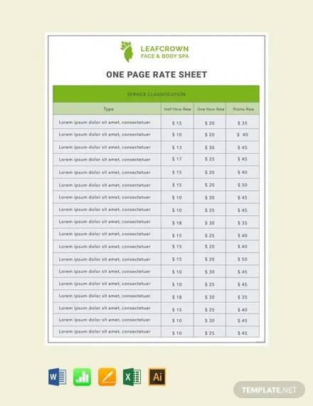 7+ FREE Excel Rate Sheet Templates Download Ready-Made Templatenet