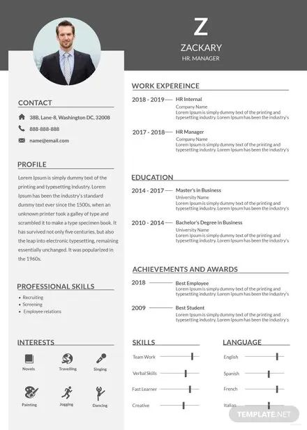 resume template hr manager