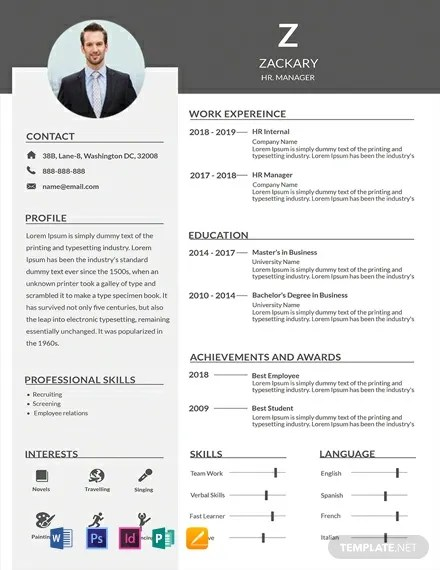 FREE HR Manager Resume Template Download 306+ Resume Templates in