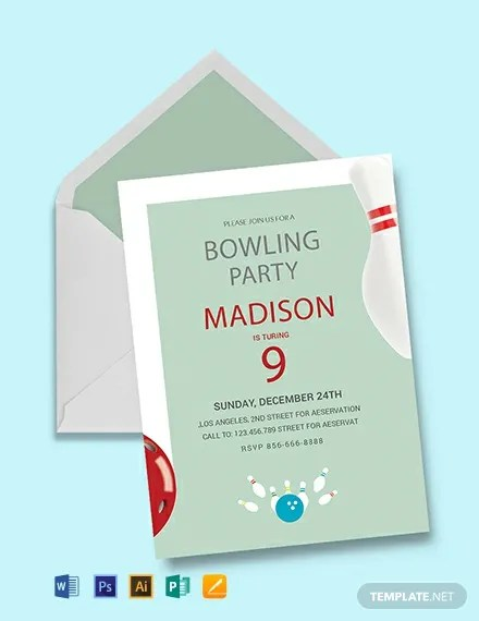 FREE Bowling Birthday Party Invitation Template Download 637+