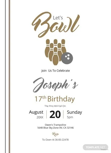 Free Bowling Party Invitation Template Free Templates - bowling invitation