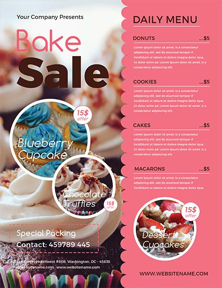 Free Bake Sale Flyer Template in Adobe Photoshop, Illustrator - bake sale flyer template microsoft