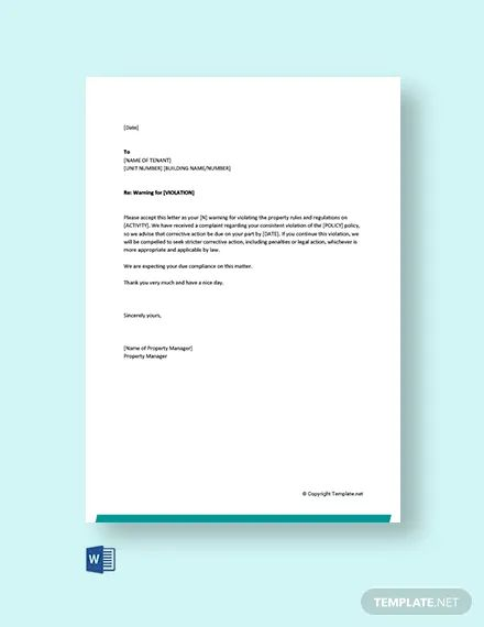warning letter template for misconduct