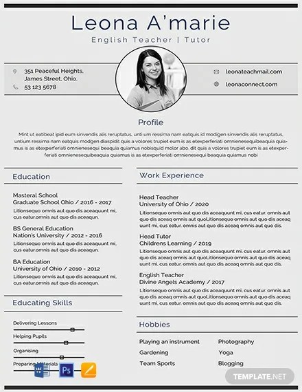 FREE English Teacher CV Template Download 316+ Resume Templates in