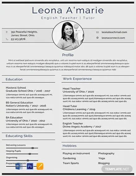english teacher cv pdf