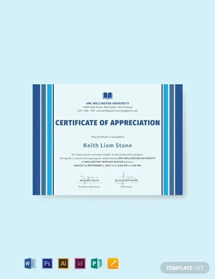 FREE Certificate of Appreciation for Training Template Download 435
