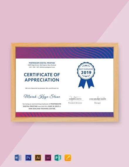 FREE Employee Certificate of Appreciation Template Download 435+