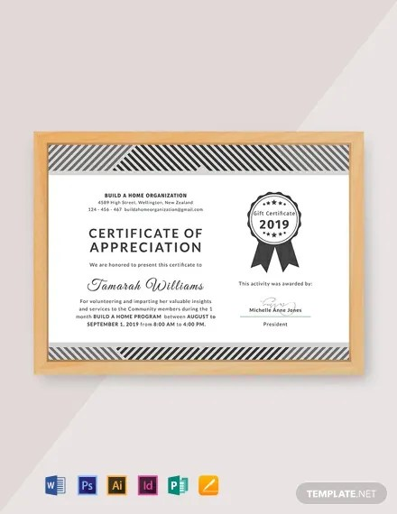 FREE Volunteer Appreciation Certificate Template Download 435+