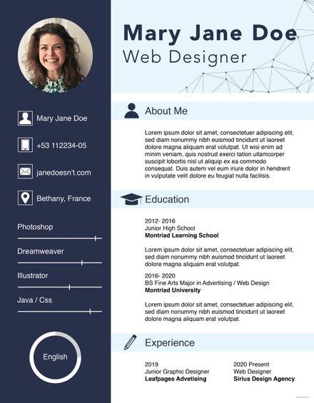 Free Web Designer Fresher CV Template Free Templates