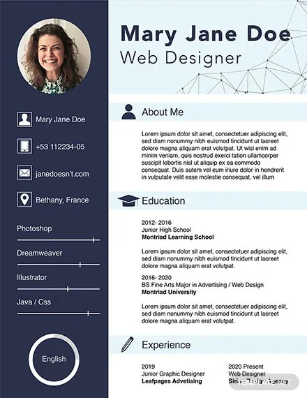 FREE Web Designer Fresher CV Template Download 160+ Resumes in PSD