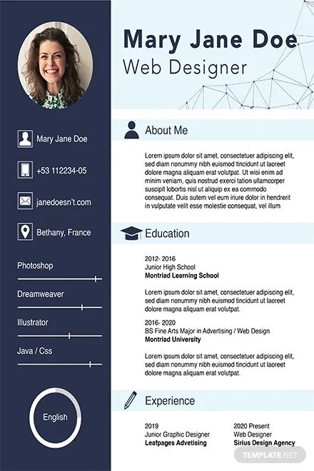 cv template indesign free