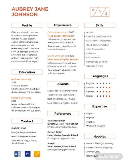 FREE Teacher Resume Format Download 607+ Resume Templates in PSD