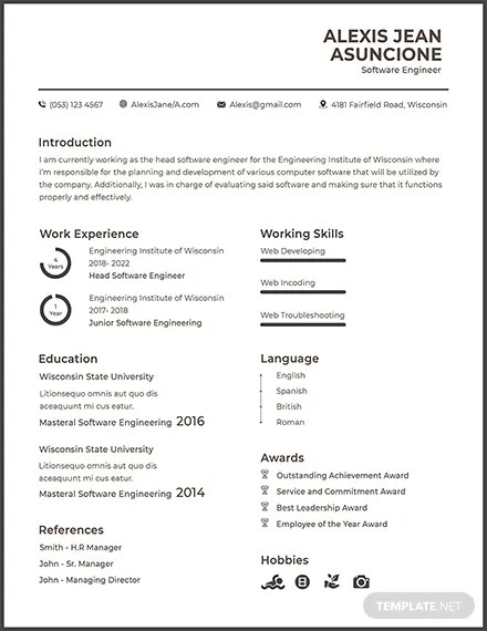 FREE Resume and CV for Software Engineer Fresher Template Download