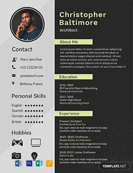 FREE Architect Resume Template Download 316+ Resume Templates in