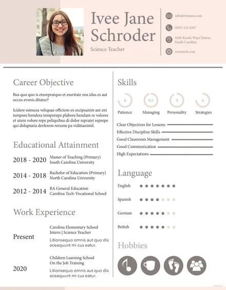 Free BCA Fresher Resume Template in Adobe InDesign Templatenet - sunday school teacher resume