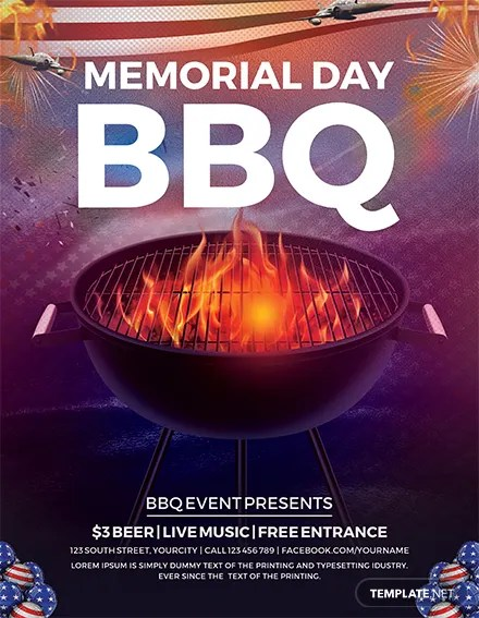 Free Memorial Day Flyer Template in Adobe Photoshop, Illustrator