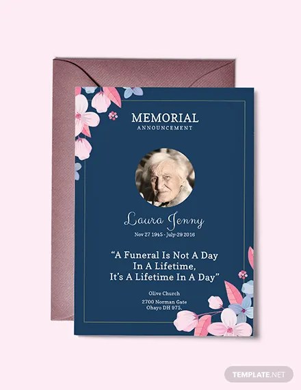 FREE Memorial Service Announcement Invitation Template Download 344