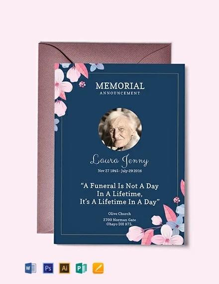 FREE Memorial Service Announcement Invitation Template Download 637