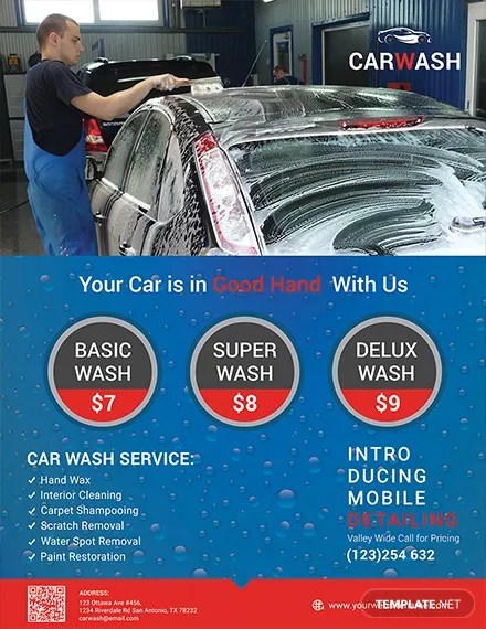 Free Hand Car Wash Flyer Template in Adobe Photoshop, Illustrator