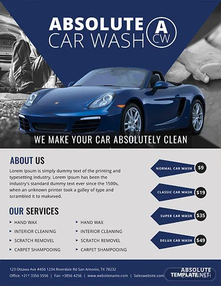 car wash flyer template free