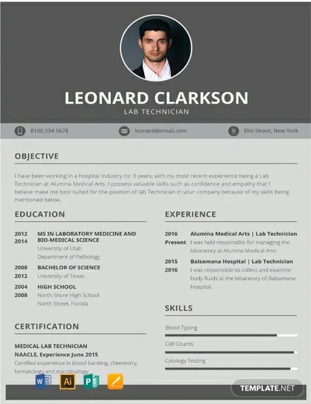FREE Lab Technician Resume and CV Template Download 316+ Resume