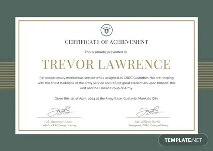 Free Army Certificate of Appreciation Template Free Templates - military certificate of appreciation template