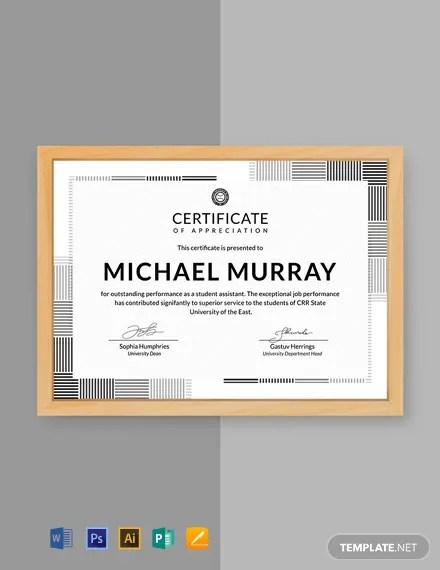 FREE Formal Certificate of Appreciation Template Download 435+