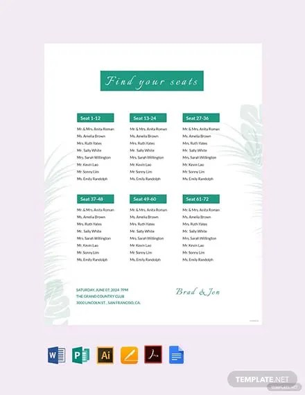 Wedding Reception Seating Chart Template Download 175+ Charts in