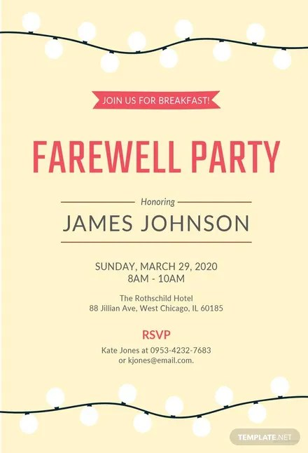 Free Farewell Breakfast Invitation Template Download 344+
