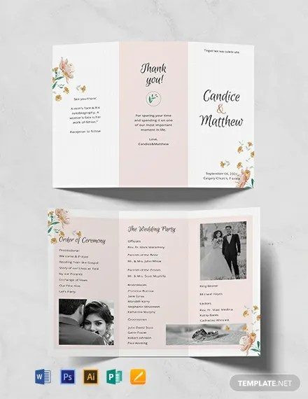 FREE Tri-fold Wedding Program Template Download 31+ Program
