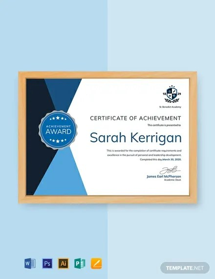 FREE Academic Achievement Certificate Template Download 435+