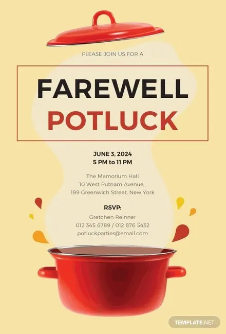 Free Farewell Potluck Invitation Template Free Templates