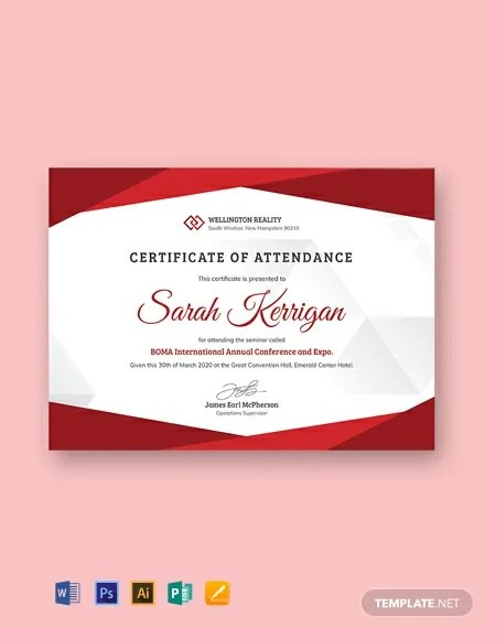 11+ FREE Attendance Certificate Templates Download Ready-Made
